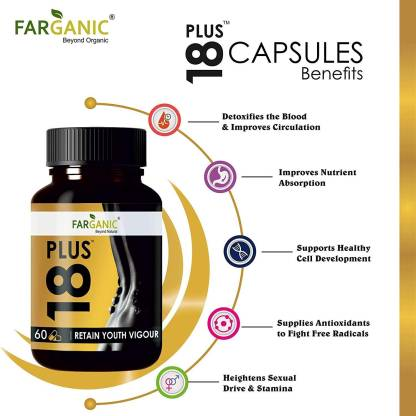 Farganic 18 Plus Testosterone Booster Capsules for women and men with SHILAJIT, ASHWAGANDHA, White & Black MUESLI, Gokhru, Koch Beej and Jayfal Extract (90 Cap)
