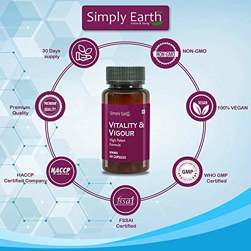 Merely Earth Vitality & Vigor Capsule - Testosterone Booster for Males & Ladies - Improve Stamina and Vitality comprises Ashwagandha Safed Musli Ext, Shilajit Ext-800 MG-(60 capsules)