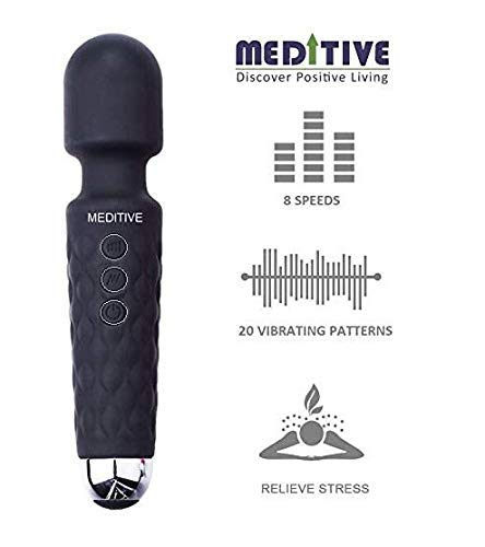 MEDITIVE Private Physique Wand Massager Machine with 20 vibration modes eight velocity modes USB Rechargeable, waterproof, versatile shaft and cordless