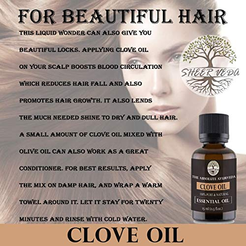 Sheer Veda Clove Important Oil 100% Pure, Pure and Undiluted for Pores and skin, Hair and enamel 15 ml