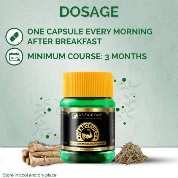 Dr Vaidya's New Age Ayurveda | Herbobuild | Ayurvedic Capsules for Muscle Acquire | 30 capsules