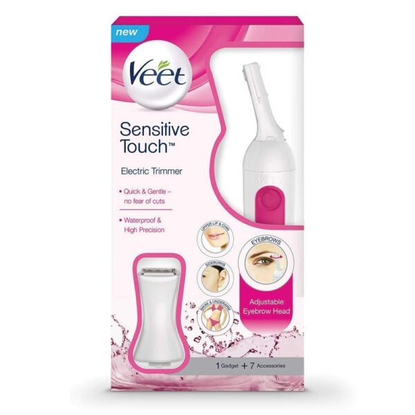 Veet Delicate Contact Knowledgeable Trimmer for Face, Underarms and Bikini line – Battery & Carry Pouch included