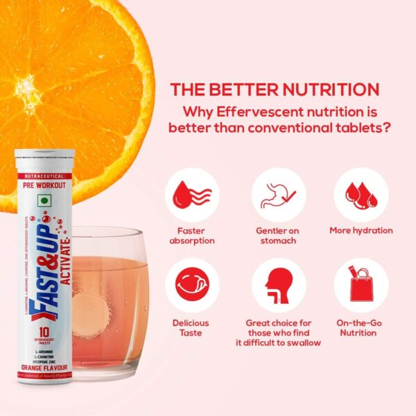 Quick&Up Activate Pre-Exercise Complement - 1500 Mg Arginine with out Caffeine - Enhance stamina and energy - 10 Effervescent tablets - Orange flavour