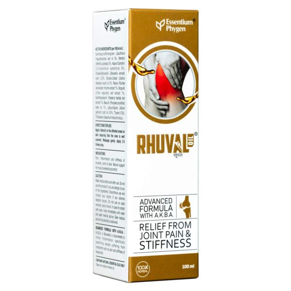 Essentium Phygen Rhuval Oil 100% Pure Immediate Ache Reduction Therapeutic Therapeutic massage Oil for Knee, Joints, Muscle tissue, Again & Arthritis Ache with Superior A.Ok.B.A. Formulation for Males & Ladies - 100ml