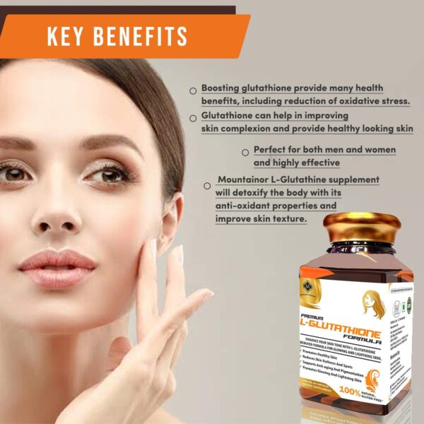 Mountainor Premium L-Glutathione Diminished System Capsule 1000mg for Healhty & Glowing Pores and skin (60 Veg Caps) Cut back Pigmentation and Brightens Pores and skin. Pure and Gluten free.