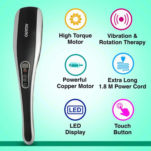 AGARO MARVEL Electrical Handheld Full Physique Hammer Massager with 5 Therapeutic massage Heads, 5 mode & 6 velocity settings for ache aid & rest
