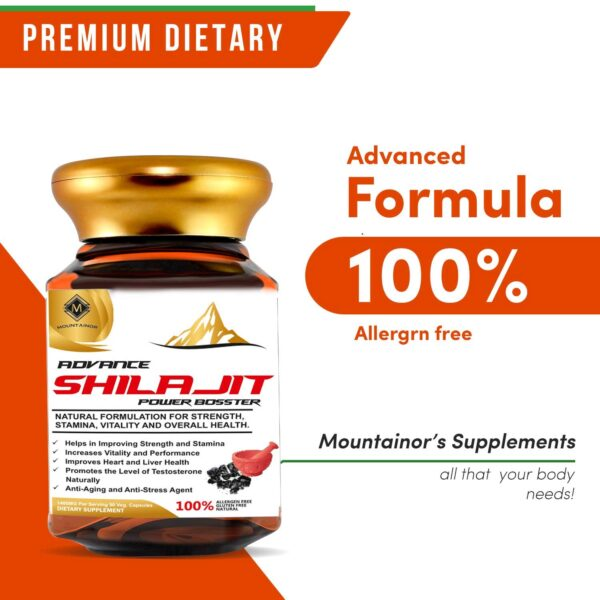 Mountainor Pure Shilajit Extracts Energy Booster Capsules 1400mg/Serving (90 Veg Caps) With Saffron. Shilajeet For Energy, Stamina, Vitality And Total Well being.