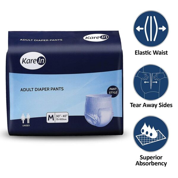"Kare In Grownup Pull ups - Pants Type Underwear Medium 10 Rely, Waist Measurement 75-100cm (30""-40"")-Pack of three (10 Counts)"