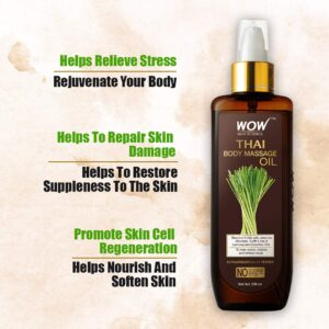 WOW Pores and skin Science Thai Physique Therapeutic massage Oil for Reviving and Refreshing -Infused with Mix of 6 Oils with Jasmine Absolute, Kaffir Lime and Lemongrass Important, 200 ml