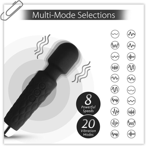 Egab Cordless Rechargeable Handheld Private Physique Massager with Vibration eight Speeds, 20 Modes (Black)