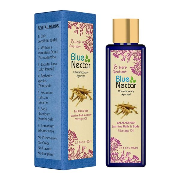 Blue Nectar Ayurvedic Fragrant Bathtub and Physique Therapeutic massage Oil with Vitamin D absorption