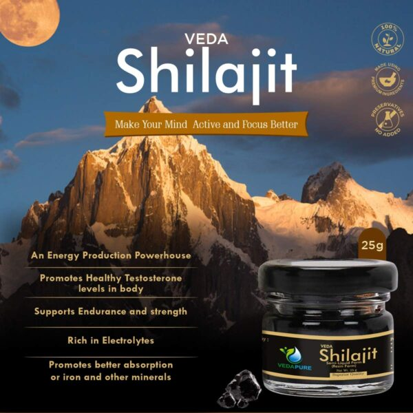 VedaPure Pure & Pure Ayurvedic Uncooked Shilajit/Shilajeet Resin Helps Common Weak point, Energy, Energy & Stamina for Males & Ladies- 25 Grams