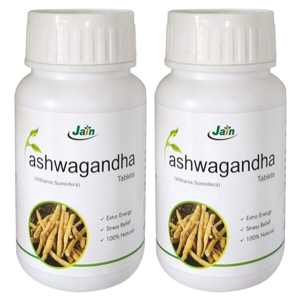 Jain Ashwagandha (Withania Somnifera) Basic Wellness , 850mg - 60 Tablets ( 2 Bottles )