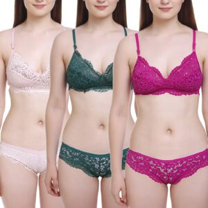 FIMS - Vogue is my fashion Ladies's Cotton three Bras, three Panty Set, Horny Lingerie for Honeymoon Intercourse Lingerie Set for Ladies Bra Panty Set for Ladies Babydolls Horny Lingerie for Honeymoon  Horny Lingerie 