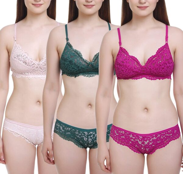 FIMS - Vogue is my fashion Ladies's Cotton three Bras, three Panty Set, Horny Lingerie for Honeymoon Intercourse|Lingerie Set for Ladies|Bra Panty Set for Ladies|Babydolls Horny Lingerie for Honeymoon| Horny Lingerie|