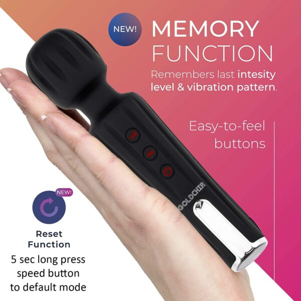 UNIQUE (INDIA) Eva Cordless Rechargeable Private Physique Wand Massager Machine With 28 Vibration Modes & Water Resistant (Black) -Free 1 Yr Alternative Assure.