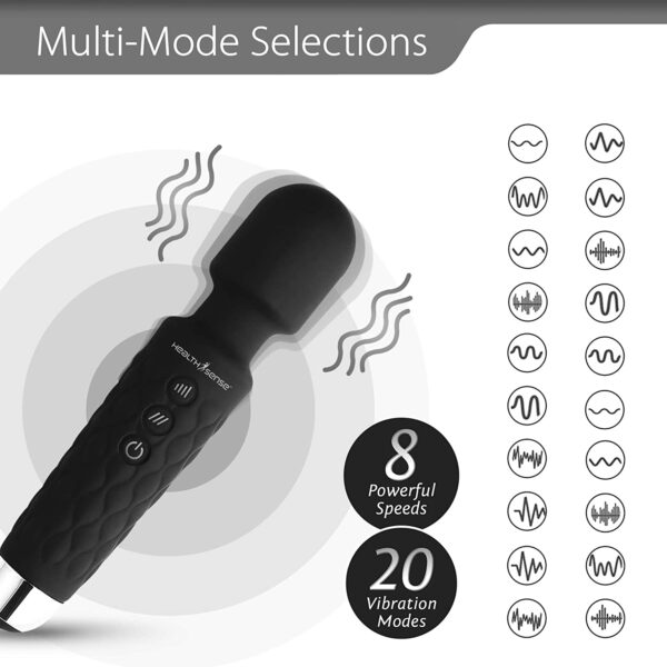 HealthSense Magic-Vibe HM 260 Cordless Handheld Private Physique Massager for Ache Aid & Rechargeable Vibration Machine with eight Speeds, 20 Modes & 1 12 months Guarantee (Black)