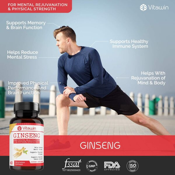 VITAWIN Ginseng Capsules (Pack Of 60); 500 mg; Final Well being & Diet Dietary supplements For Rejuvanation & Bodily Energy (1)