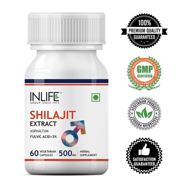 INLIFE Pure Shilajit Extract for Males Power and Stamina Complement, 500mg - 60 Vegetarian Capsules