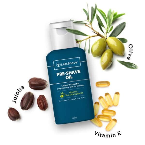 LetsShave Pre Shave Oil with 100% Pure Important Oil and Vitamin E for an irritation-free shave -100ml