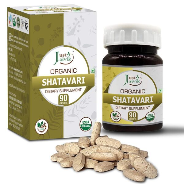Simply Jaivik Natural Shatavari Tablets - A Dietary Dietary supplements - 750 mg (Pack 90 Natural Tablets) | Rejuvenation for Vata and Pitta that Promotes Vitality and Energy | Ladies's Wellness