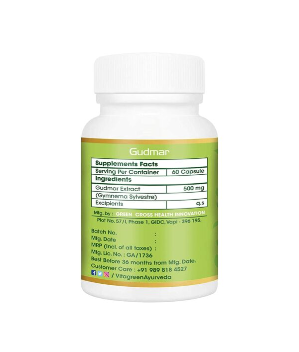 VitaGreen GUDMAR For Blood Sugar Degree & Diabetes, 500 mg, 60 Capsules (Pack of 1) 100% Pure Ayurveda Complement