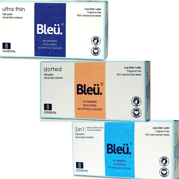 Bleu All Pure Latex Condoms Extremely Skinny + Dotted + Three-In-1 Combo Condom