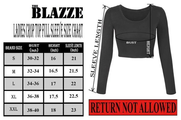 THE BLAZZE 1059 Girls's Cotton Fundamental Horny Stable Scoop Neck Slim Match Full Sleeve Saree Readymade Saree Shirt Crop Prime T-Shirt for Girls