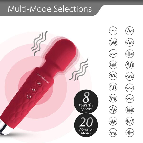 HealthSense Magic-Vibe HM 260 Cordless Handheld Private Physique Massager for Ache Aid & Rechargeable Vibration Machine with eight Speeds, 20 Modes & 1 Yr Guarantee (Cherry)