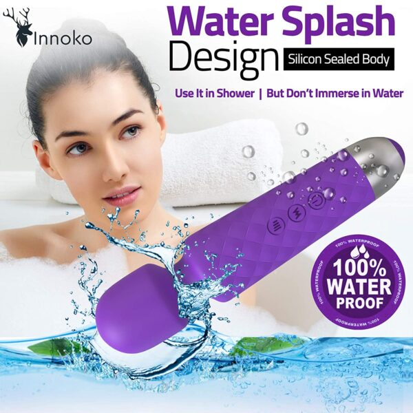 Innoko Physique Wand Massager | Private Handheld Rechargeable Waterproof Mini Massager Machine for Ladies & Males | Versatile Neck, Transportable, Fairly & Highly effective Motor - 20 Vibration and eight Pace Sample