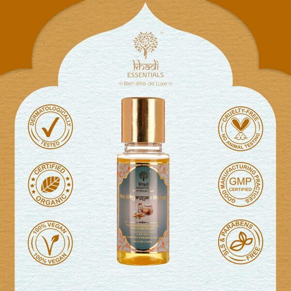Khadi Necessities Pure Candy Almond Physique Therapeutic massage Oil|For Pores and skin Tightening|Firming|Anti Ageing|Hair Nourishment|Chilly Pressed| 50ml